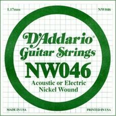 D'Addario NW046 Corda Singola Elettrica-Acustica Nickel Round