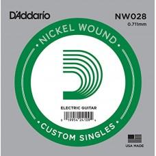 D'Addario NW028 Corda Singola Elettrica-Acustica Nickel Round