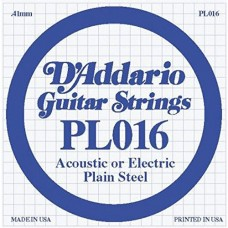 D'Addario PL016 Corda Singola Elettrica-Acustica Plain Steel