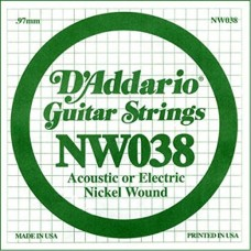 D'Addario NW038 Corda Singola Elettrica-Acustica Nickel Round