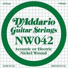 D'Addario NW042 Corda Singola Elettrica-Acustica Nickel Round