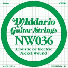 D'Addario NW036 Corda Singola Elettrica-Acustica Nickel Round