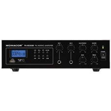 Monacor PA-803USB - audio amplifiers (Clamp terminals, 0 - 40 °C, 6.3 mm, 80 - 18000 Hz)