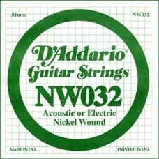 D'Addario NW032 Corda Singola Elettrica-Acustica Nickel Round