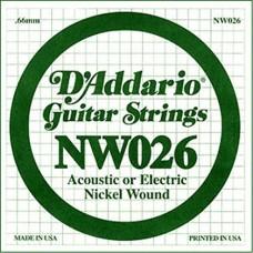 D'Addario NW026 Corda Singola Elettrica-Acustica Nickel Round