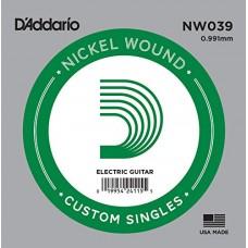 D'Addario NW039 Corda Singola Elettrica-Acustica Nickel Round