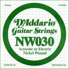 D'Addario NW030 Corda Singola Elettrica-Acustica Nickel Round